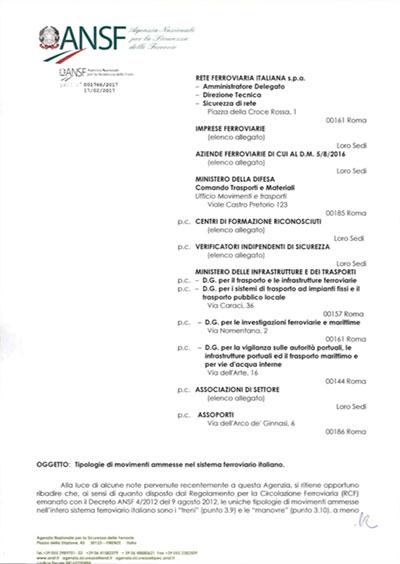 Tipologie di movimenti ammesse nel sistema ferroviario italiano (ANSF)