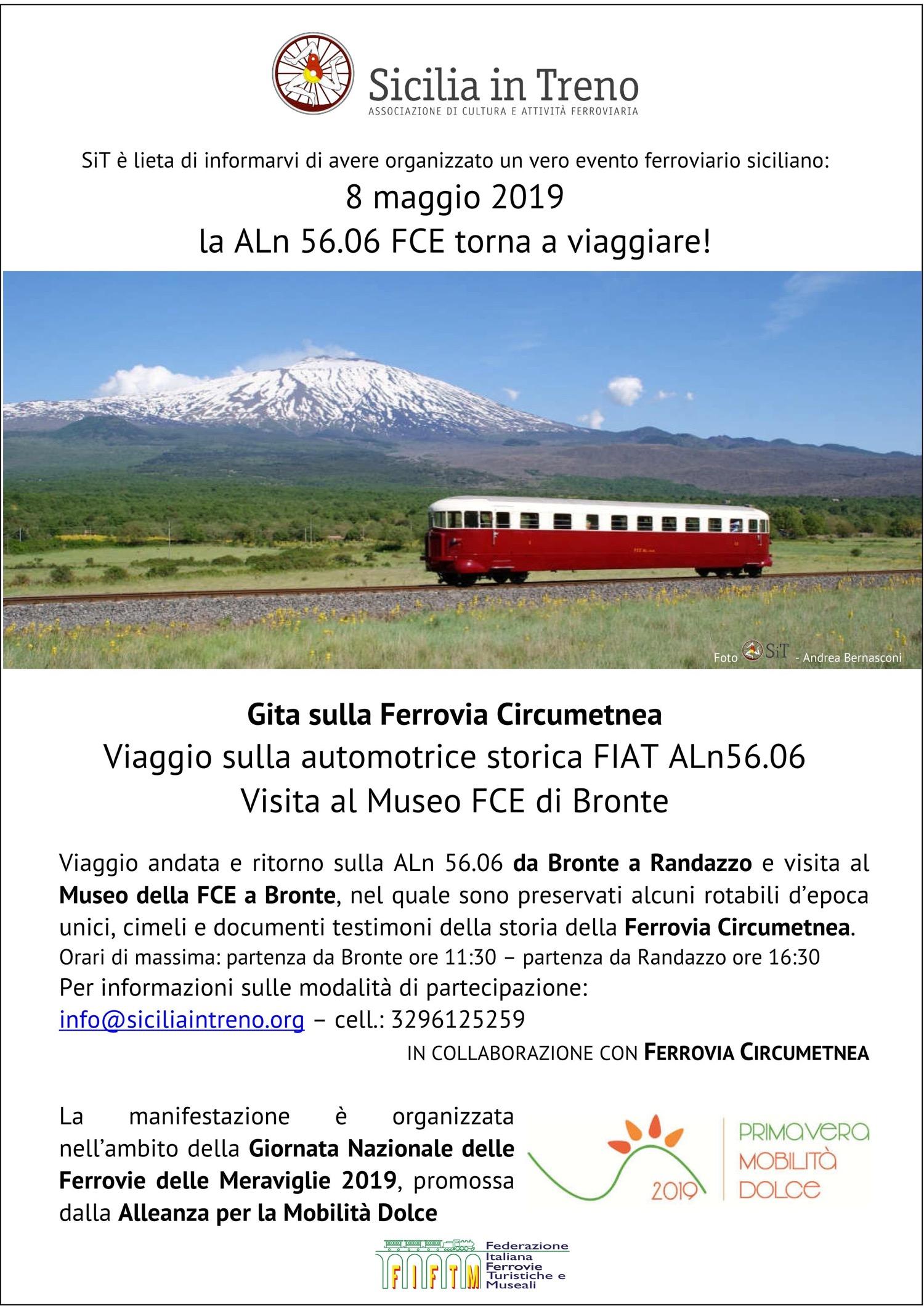 8 maggio 2019 - Gita sulla Ferrovia Circumetnea a bordo della Littorina ALn56.06